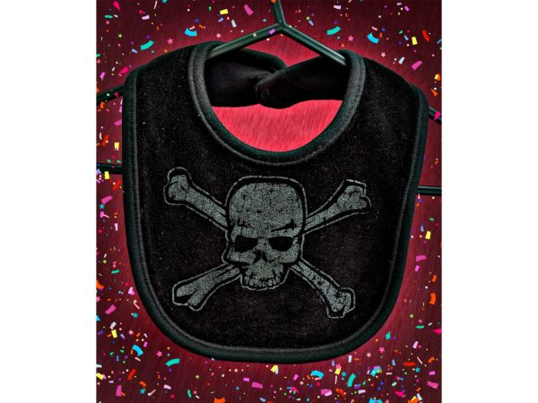 Distressed Skull And Crossbones Baby Bib