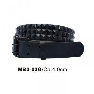 Three row black pyramid stud belt.