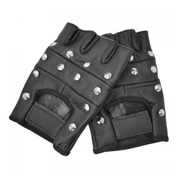 Studded Fingerless Biker Gloves Bullet 69