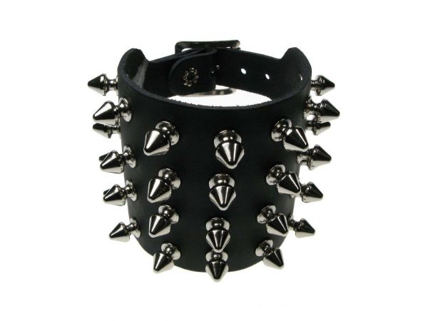 4 Row Spiked Studded Wristband Gauntlet Bullet 69