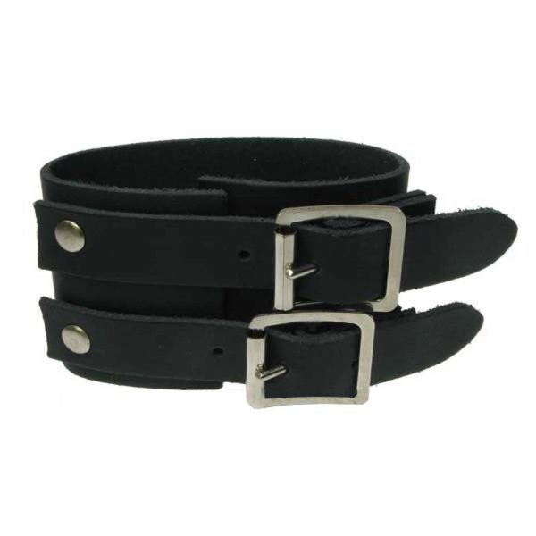 3 Row Width Plain Leather Wristband Gauntlet Bullet 69
