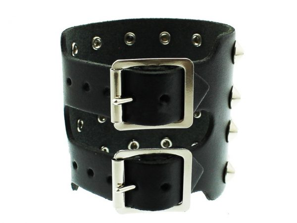 4 Row Conical Studded Wristband Gauntlet Bullet 69