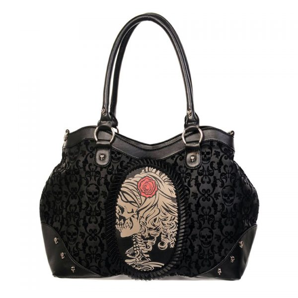 Cameo Lady Rose Skull Handbag Banned Apparel
