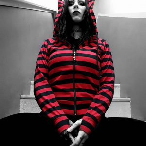 Red and Black Stripe Devil Hood