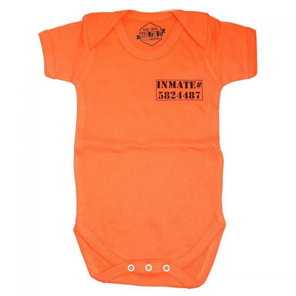 Prisoner Inmate Orange Baby Grow Onesie