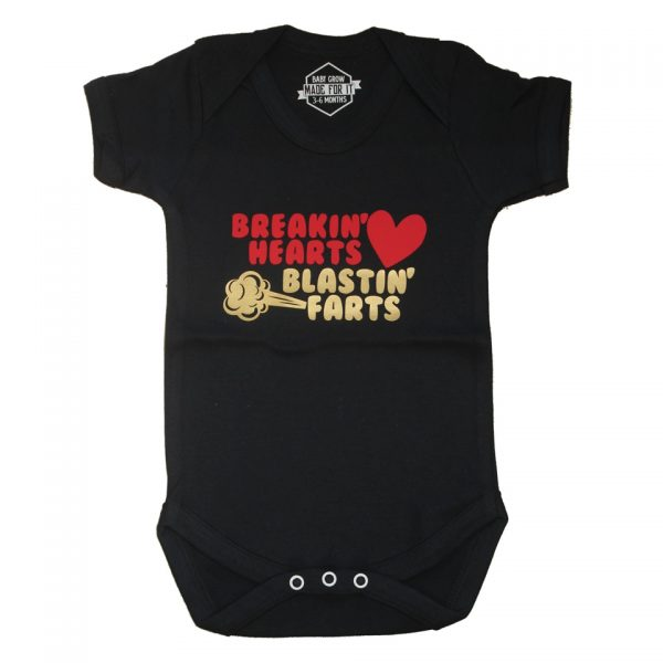 Breaking Hearts, Blasting Farts Baby Grow Onesie