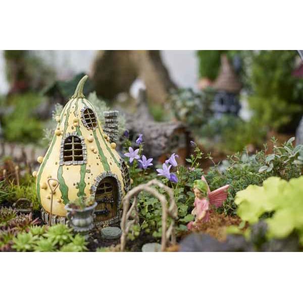 Striped Gourd Fairy Garden House