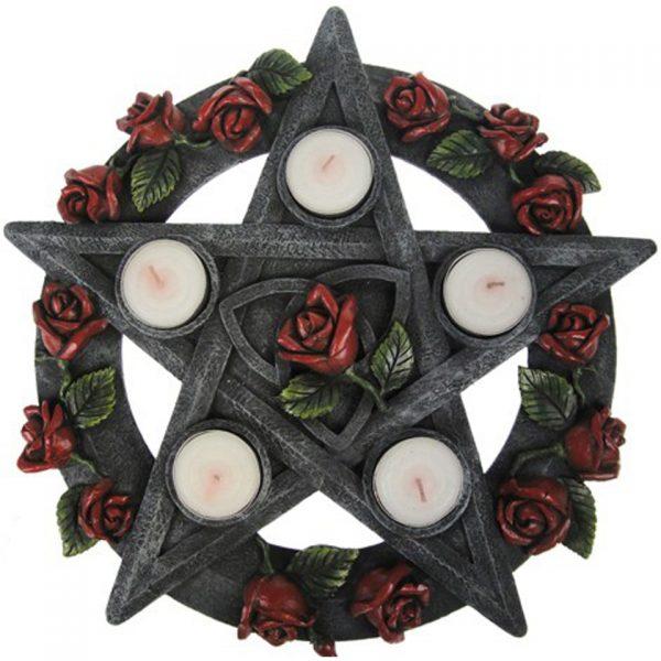 Pentagram Rose Tealight Holder
