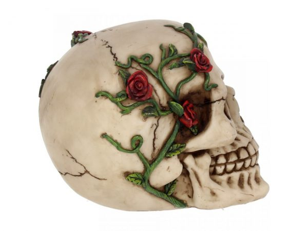 Red Rose From Beyond Skull Figure