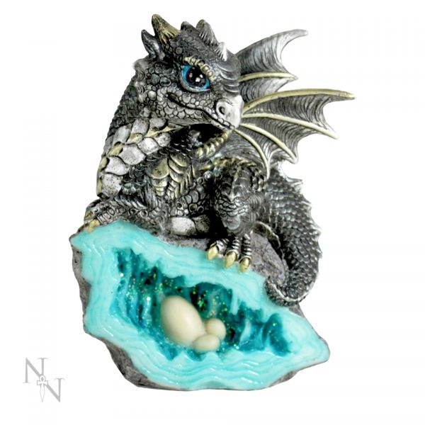 Nest Guardian Dragon Blue Figure Geode