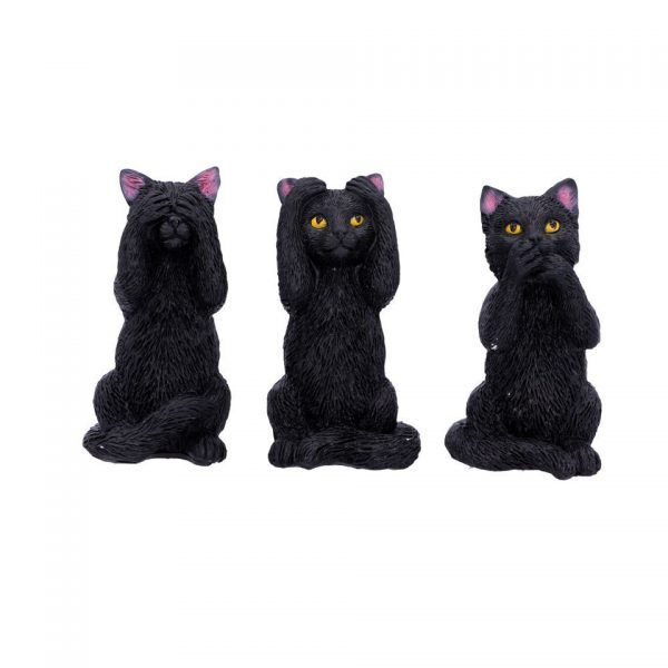 Three Wise Felines Cats Figures Confucius