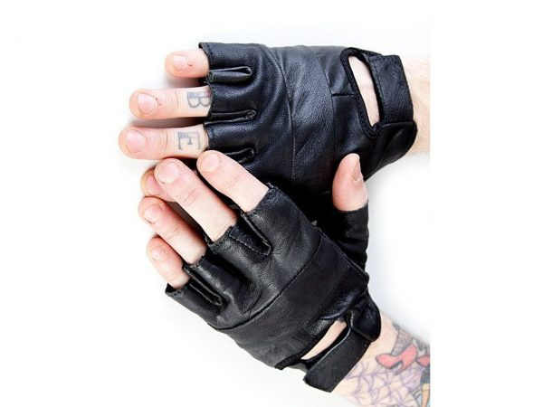 Leather Fingerless Biker Gloves Bullet 69