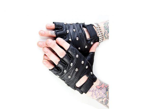 Studded Fingerless Biker Gloves Bullet 69