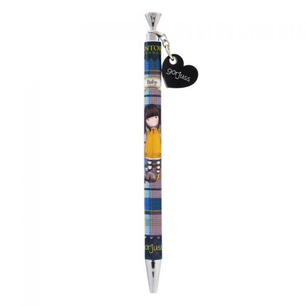 Santoro Gorjuss Tartan Pen with Acrylic Dangler and Jewelled Top Ruby