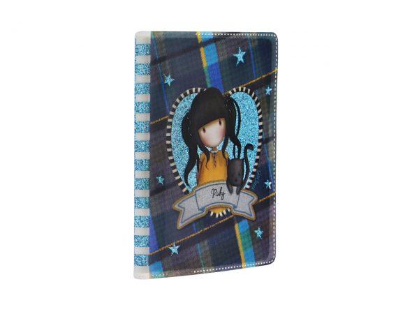 Santoro Gorjuss Tartan Mini Glitter Laminated Notebook Ruby