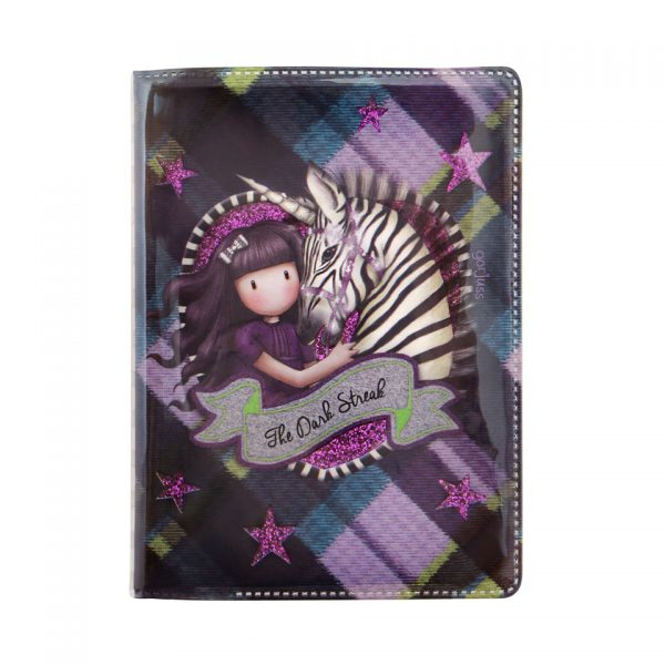 Santoro Gorjuss Tartan Mini Glitter Laminated Notebook The Dark Streak