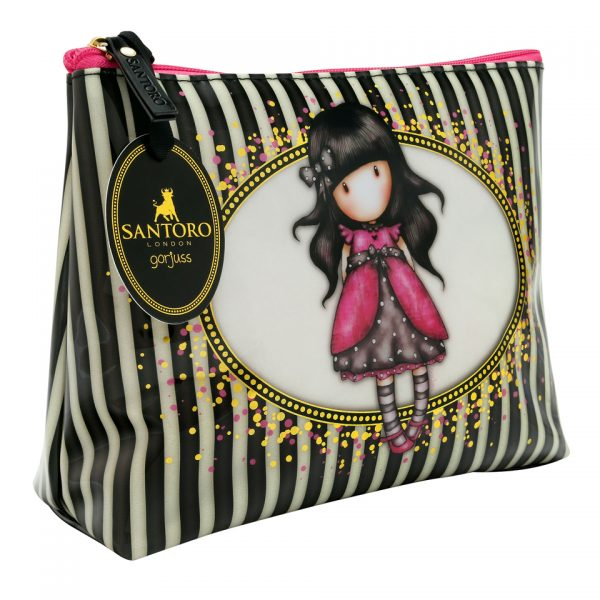 Santoro Gorjuss Classic Stripe Wash Bag Accessory Case Ladybird