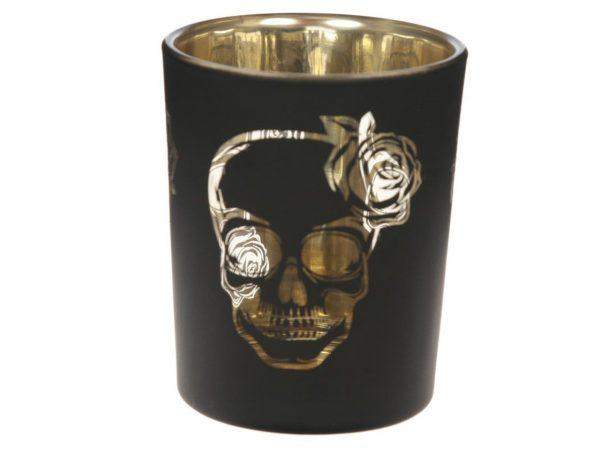 Skull and Roses Votive Tealight Holder