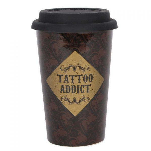 Tattoo Addict Art Deco Travel Mug Cabinet of Curiosities