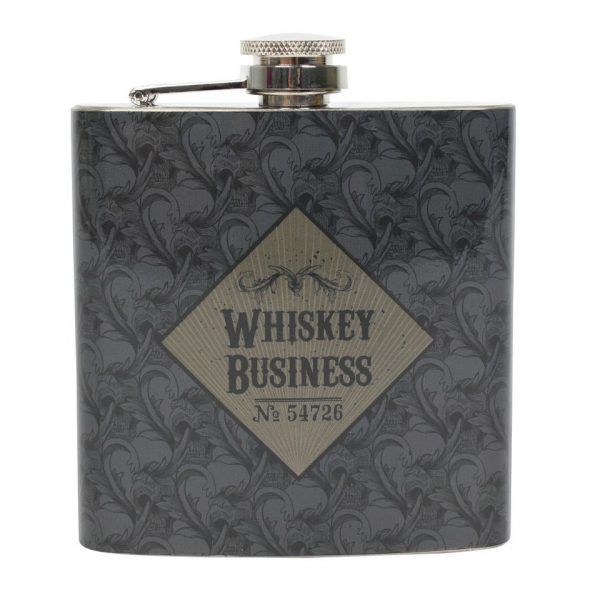 Whiskey Business Art Deco Cabinet of Curiosities Hip Flask