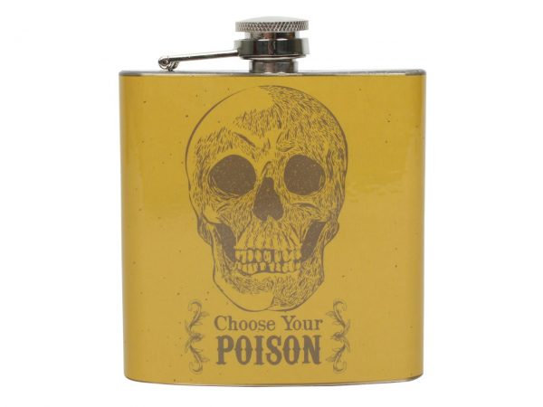 Choose Your Poison Skull Cabinet of Curiosities Hip Flask
