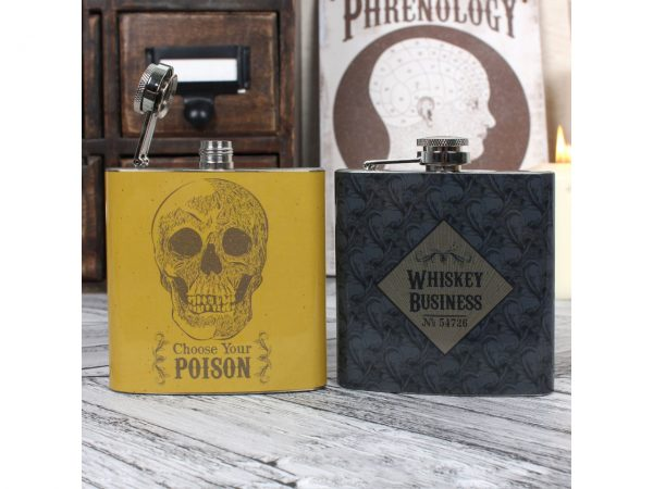 Choose Your Poison Skull Cabinet of Curiosities Whiskey Business Hip Flask