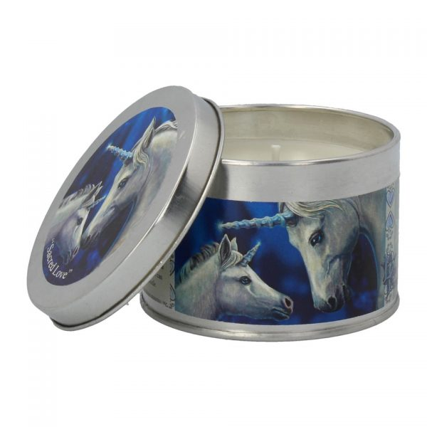 Sacred Love Lisa Parker Unicorn Tin Candle Jasmine Tea Nemesis Now