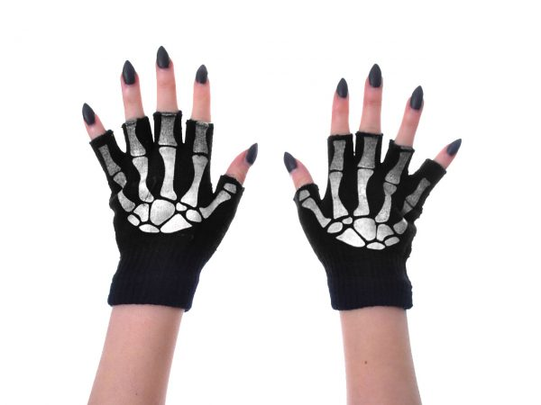 Skeleton Gloves Finger-less Poizen Industries