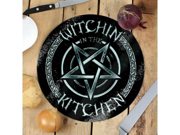 Witchin In The Kitchen Pentagram Glass Chopping Cutting Board Grindstore