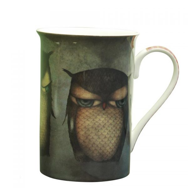 Santoro Owls Tall Mug Grumpy Owl