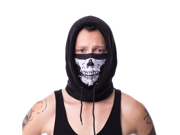 Skull Skeleton Jaw Face Snood Mask Poizen Industries Hoodie Hooded