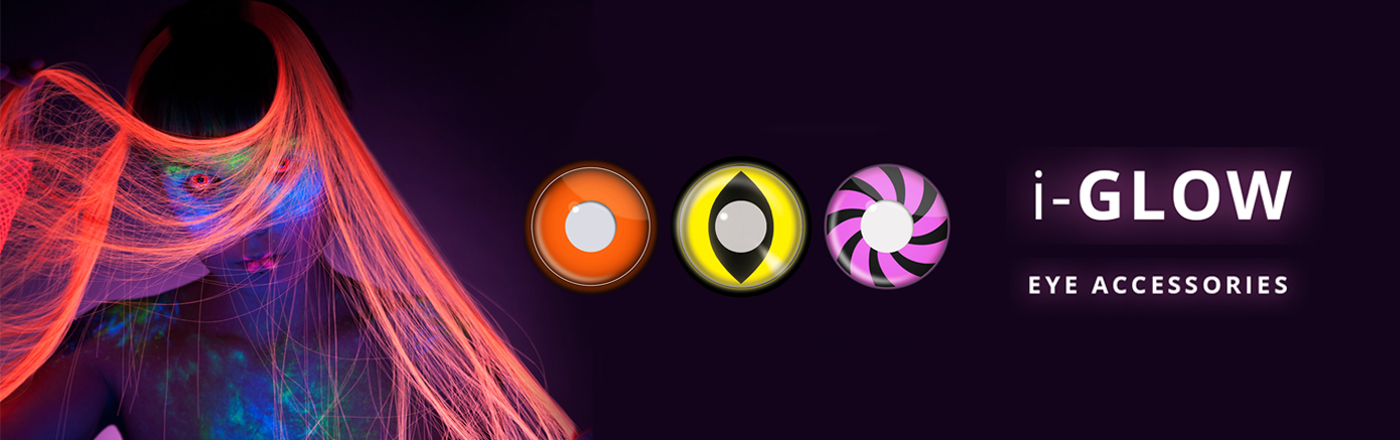 All i-Glow Neon UV Daily Single 90 Day Wear Use Eye Accessories Contact Lenses Funky Vision Eye Fusion Banner