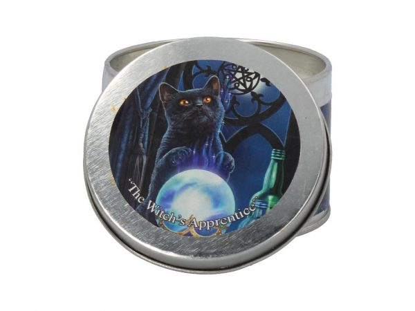 The Witch's Apprentice Lisa Parker Cat Spiritual Tin Candle Lavender and Rosemary Nemesis Now