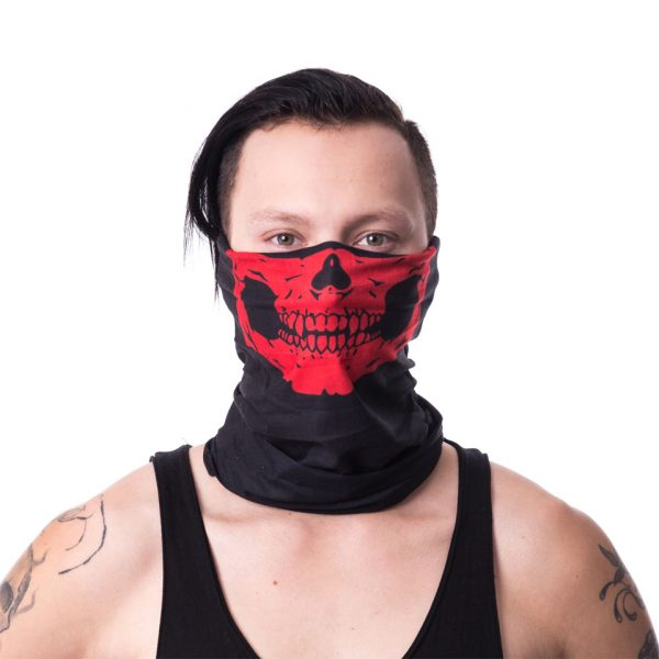 Red Skull Skeleton Snood Mask Face Covering Reusable Innocent Clothing Poizen Industries