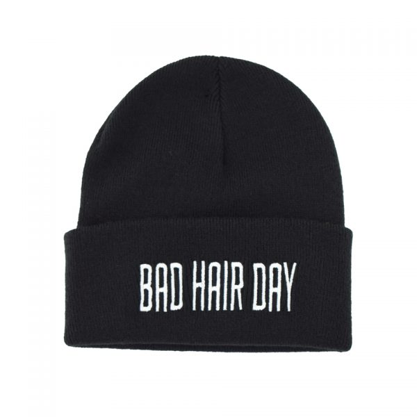 Bad Hair Day Embroidered Knitted Folded Beanie Hat Alternative Gothic Darkside Clothing Fashion