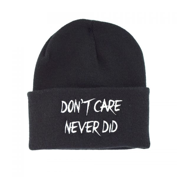 Don't Care Never Did Embroidered Knitted Folded Beanie Hat Alternative Gothic Darkside Clothing Fashion