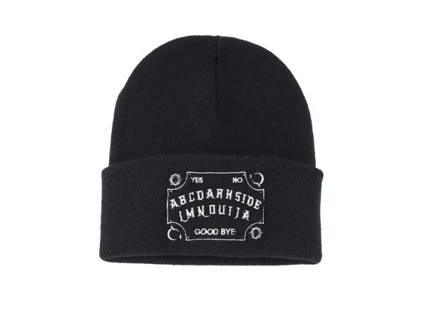 Oujia Board Embroidered Knitted Folded Beanie Hat Alternative Gothic Darkside Clothing Fashion