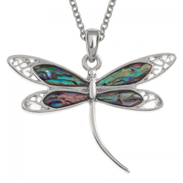 Paua Shell Purple Blue Green Pink Filigree Dragonfly Pendant Necklace Rhodium Chain Tide Jewellery Talbot Fashions Organic New Zealand Sea Opal
