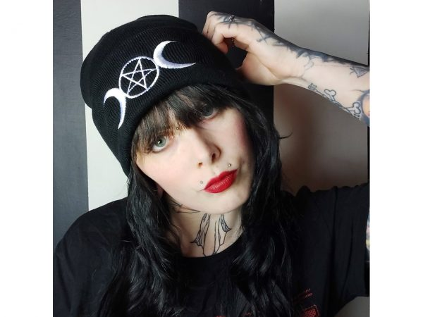 Pentagram Moon Embroidered Knitted Folded Beanie Hat Alternative Gothic Darkside Clothing Fashion