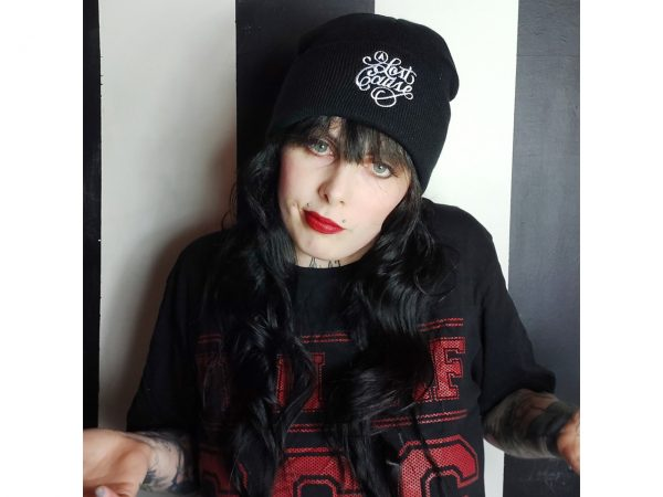 A Lost Cause Embroidered Knitted Folded Beanie Hat Alternative Gothic Darkside Clothing Fashion