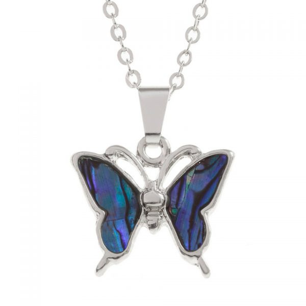 Paua Shell Purple Blue Butterfly Pendant Necklace Rhodium Chain Tide Jewellery Talbot Fashions Organic New Zealand Sea Opal