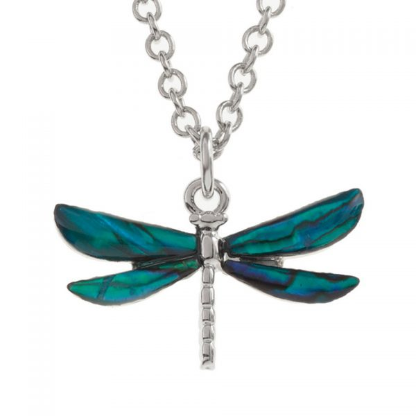 Paua Shell Purple Blue Dragonfly Pendant Necklace Rhodium Chain Tide Jewellery Talbot Fashions Organic New Zealand Sea Opal