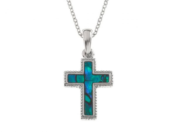 Paua Shell Purple Blue Cross Crucifix Pendant Necklace Rhodium Chain Tide Jewellery Talbot Fashions Organic New Zealand Sea Opal