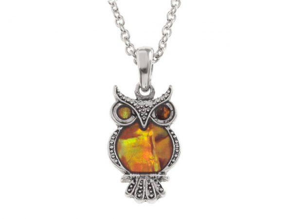 Paua Shell Orange Owl Bird Pendant Necklace Rhodium Chain Tide Jewellery Talbot Fashions Organic New Zealand Sea Opal