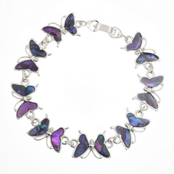 Paua Shell Blue Purple Butterfly Bracelet Rhodium Chain Tide Jewellery Talbot Fashions Organic New Zealand Sea Opal