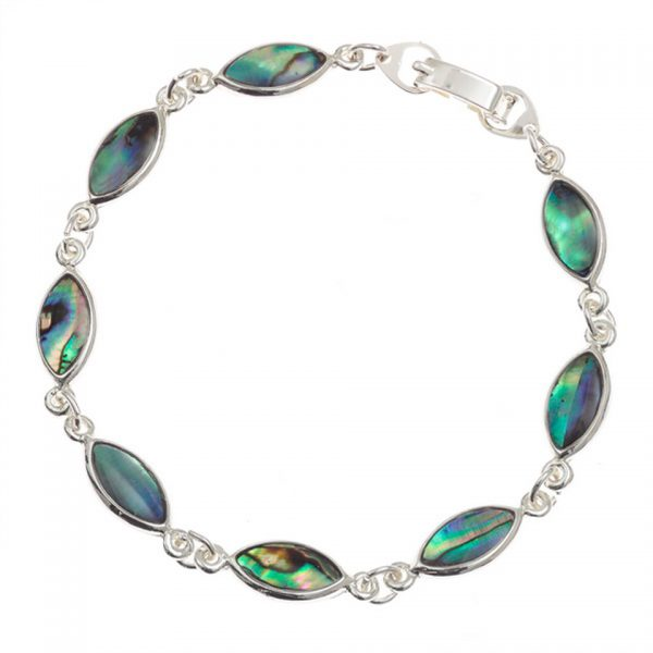 Paua Shell Blue Purple Green Pink Oval Section Bracelet Rhodium Chain Tide Jewellery Talbot Fashions Organic New Zealand Sea Opal Celtic