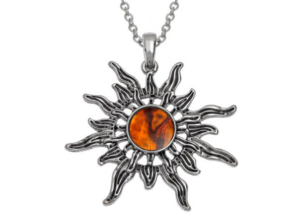 Paua Shell Orange Sunburst Pendant Necklace Rhodium Chain Tide Jewellery Talbot Fashions Organic New Zealand Sea Opal