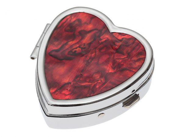 Paua Shell Red Heart Pill Box Rhodium Tide Jewellery Talbot Fashions Organic New Zealand Sea Opal