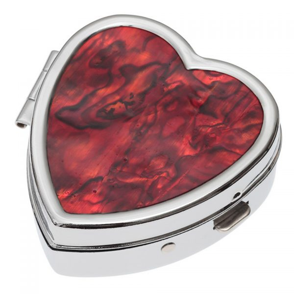 Paua Shell Red Heart Pill Box Rhodium Tide Jewellery Talbot Fashions Organic New Zealand Sea Opal