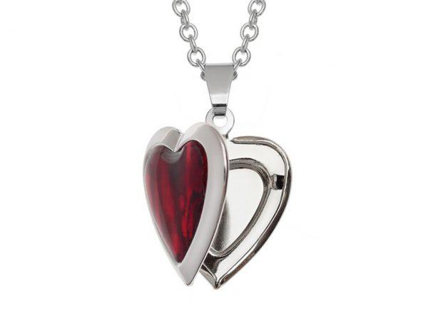 Paua Shell Red Heart Locket Necklace Pendant Rhodium Chain Tide Jewellery Talbot Fashions Organic New Zealand Sea Opal